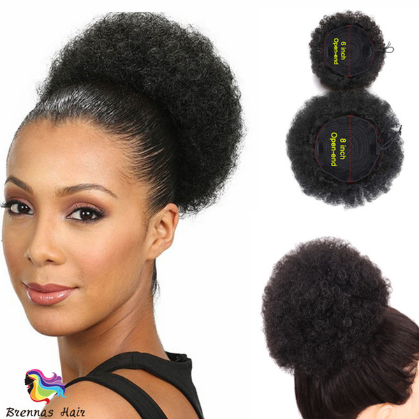 Fashion Human Hair Afro Curly Chignon Ponytail
