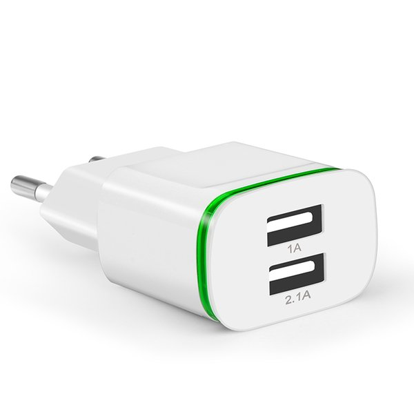 Eu US Plug 2 Ports LED Light USB Charger 5V 2A Wall Adapter Cell Phone Micro Charging For ios and Android