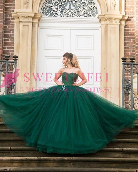 2018 Dark Green Sweetheart Neck Prom Dresses Zipper Back Lace Appliques Sweep Train Puffy Tulle Ball Gown Formal Evening Occasion Dresses