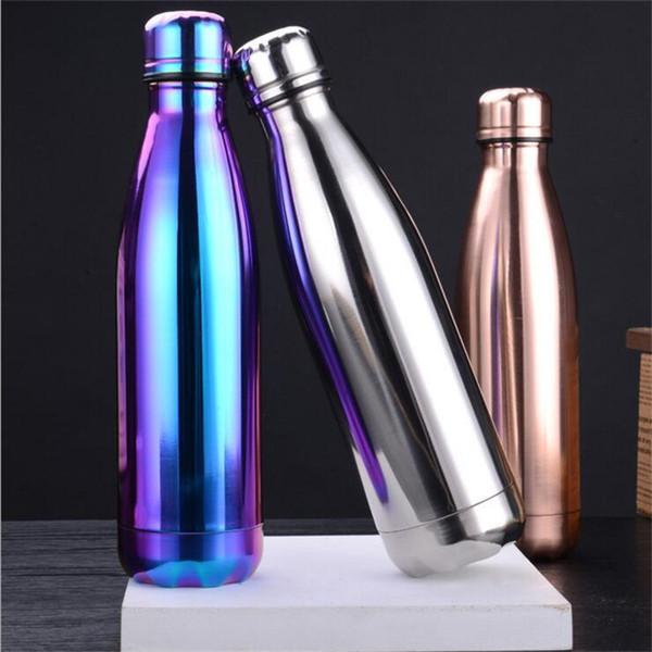tasse à café ventouse double paroi en acier inoxydable Electroplate Thermos bouteille avec couvercle bouilloire FLASK bouteille à eau 019