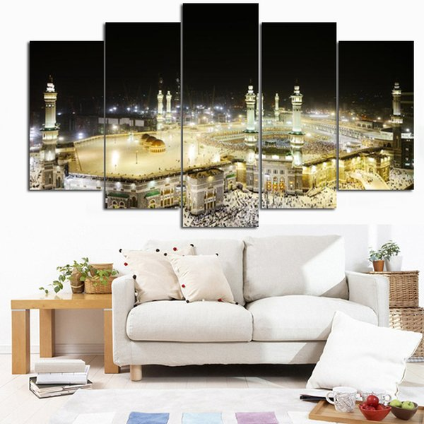 Modular Wall Art HD Prints Oil Popular Fashion Pictures Canvas Posters 5 Pieces Islamic Paintings Home Decoration Framework