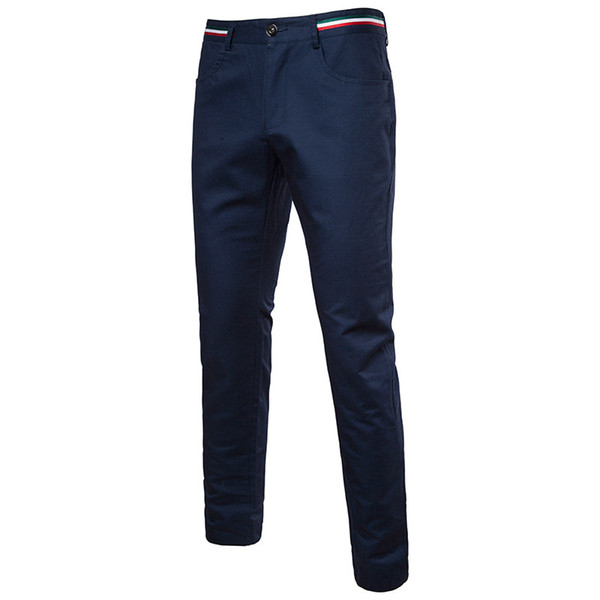 Brand New Design Men Casual Pants Elastic Polyester Slim Pant Straight Suit Trousers Fashion Business Black Skinny Pants Men