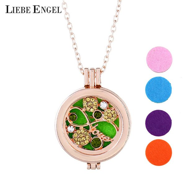 LIEBE ENGEL Fashion Vintage Inlaid Gems Necklace Fragrances Pendent Colorful Long Chain Necklace For Women Jewelry Drop Shipping
