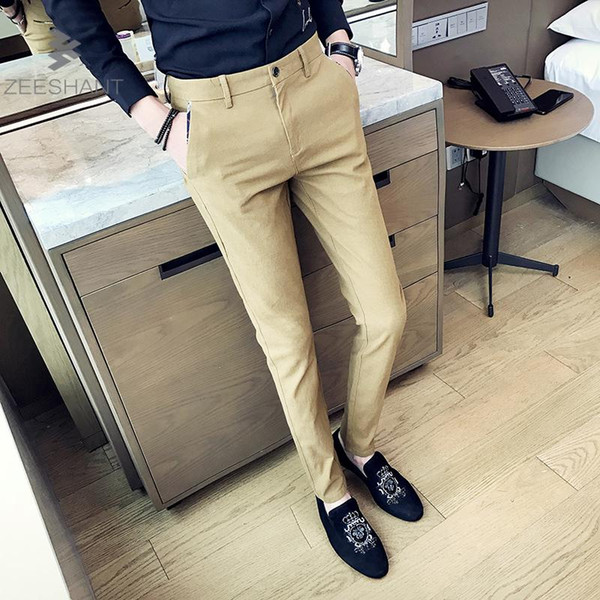 Zeeshant 2018 High Quality Mens Fashion Slim Fit Suit Pants Navy Men Skinny Formal Dress Pants Business Blazer Pant 38