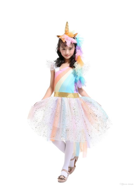 Unicorn Princess Tutu Dress Suits with 1 Unicorn Corn Headband+1 Golden Wings Cosplay Clothing Girls Stage Performance Dresses