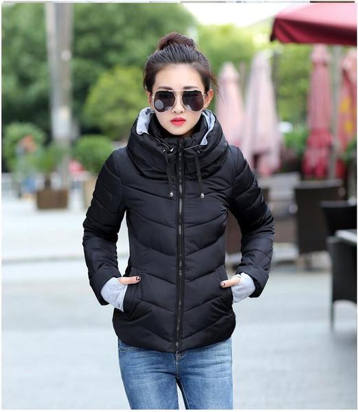 Winter Down Frauen plus Größe verdicken Oberbekleidung einfarbig Kapuzen Mäntel kurze weibliche dünne Baumwolle gepolsterte Mäntel