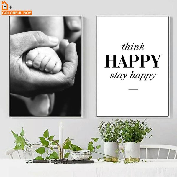 COLORFULBOY Wall Art Canvas Painting Father's Love Hands Black White Nordic Posters And Prints Wall Pictures For Living Room