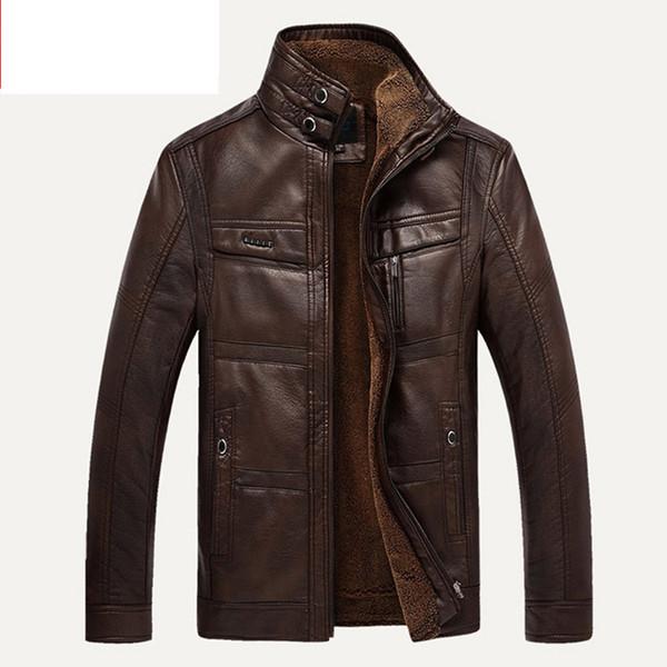 XingDeng PU Marka Yüksek Deri Ceket Erkek Mont artı 5XL Kaliteli Giyim Erkekler Iş Kış Faux Kürk Erkek üst giysi Polar