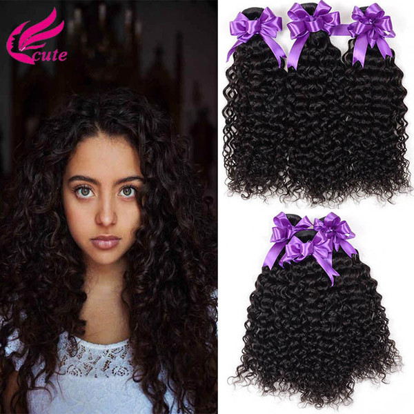 8A Grade Brazilian Kinky Curly Virgin Human Hair Weave 3 Bundles Unprocessed Deep Curly Hair Extensions Natural Black Can Be Dyed All Colors