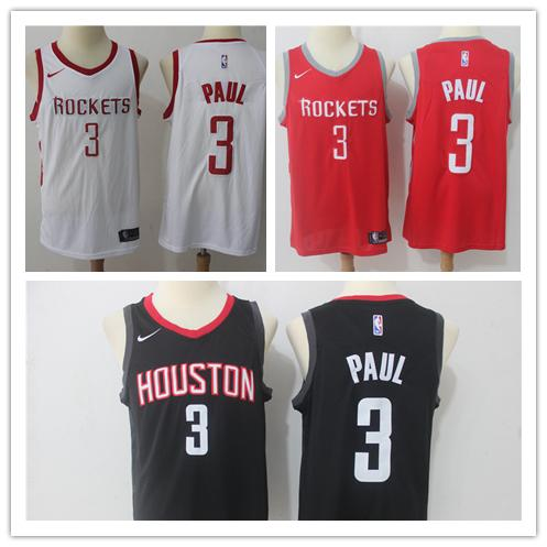 low priced 76308 f847f 2018 2019 New Mens 3 Chris Paul Houston Rockets Basketball Jerseys  Authentic Stitched Embroidery Mesh Dense Au Chris Paul Basketball Jerseys  From ...