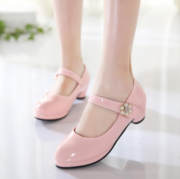 Boutique Children's Shoes 2018 New Spring Autumn Fathion Pearl Girl PU Leather Shoes Princess High Heels Wedding Shoe size 26-37
