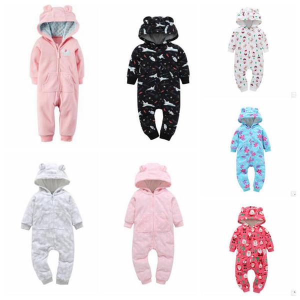 Ropa para niños Ins Baby Mamelucos de invierno Chicos Vellón Monos Moda para niños pequeños Mochilas con capucha Recién nacido Calientes Monos Ropa de bebé YL309