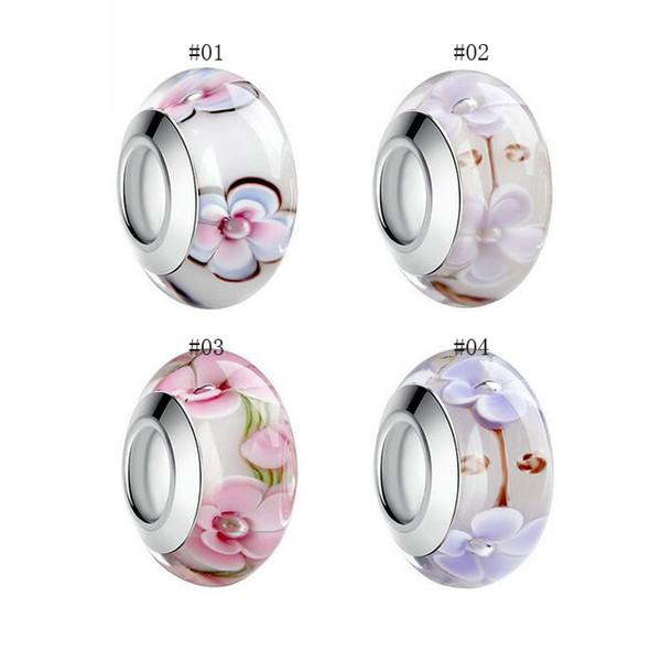 Bracciale per gioielli in argento con pendente in vetro di murano sfaccettato con perline in vetro murano stampato a cuore