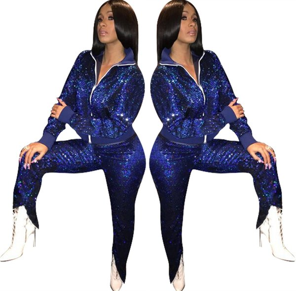 Bling Bling Sequin Tracksuits 2018 Women Blue Zipper 2 Piece Long Sleeve Jacket Pants Sets Fashion Outdoor Sports Outfits Slim Track Suits