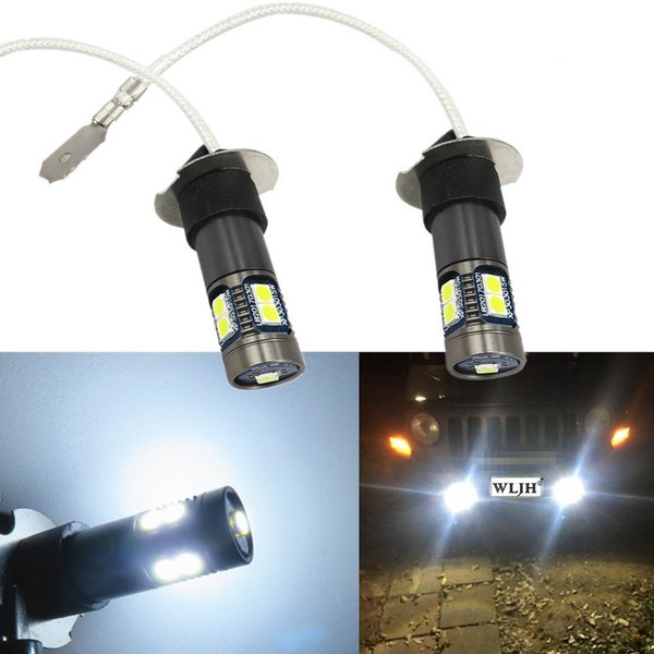 WLJH 12V 24V H3 LED Fog Light Bulbs Auto LED Bulb Canbus H3 Replacement LED DRL Fog Driving Lights Lamp for Mazda Mitsubishi