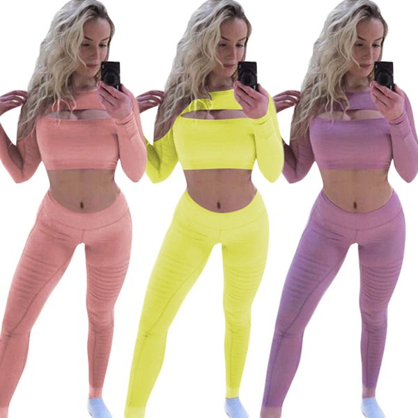 women clothes two piece Yoga outfits long sleeve women Corset clothing sets two pieces pants 2018 women Jumpsuit Solid Hollow Out O Neck