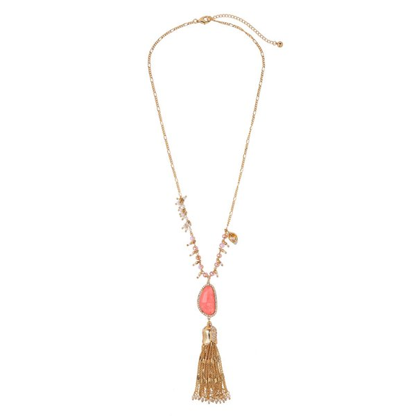 Slanw fashion gold color alloy link chain imitation pearl crystal beads irregular stone tassels pendant women long sweater neclace necklaces