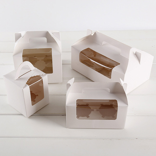 White Card Paper Cupcake Boxes Cake Packaging Boxes with Handle Clear Whindow Muffin Box