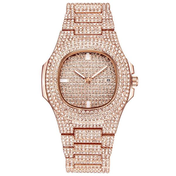 Yeni Lüks Kadınlar İzle Diamonds Kuvars Lady Paslanmaz Çelik Saatler Rhinestone Gül Altın Saatı Saat Hediyeler Relogio Feminino