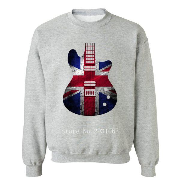 United Kingdom Guitar British Flag Hooded Sweatshirts Men's Sweatshirt Men's Hooded Hip Hop Winter Hoodie Pullovers