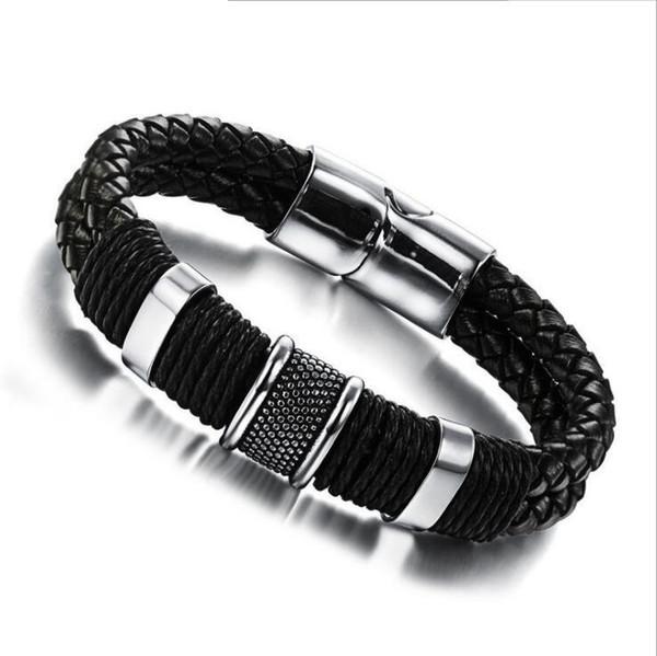 3 Größe Mens Leder geflochtenes Armband - Edelstahl magnetische Schnalle schwarz Handgelenk Manschette Bangle Mens Designer Motorrad Schmuck