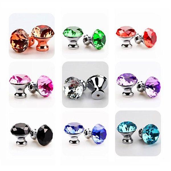 Acheter Uke 30mm Diamant Cristal Poignees Boutons Placard Poignees Armoires De Cuisine Poignees Tiroir Boutons Meuble Manche Quincaillerie De 33 85