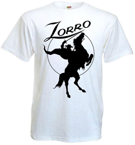 ZORRO ver.5 T-shirt beyaz Film Posteri tüm boyutları S ... 5 XLLETTER T Gömlek erkekler Rahat Beyaz T-shirt Özel