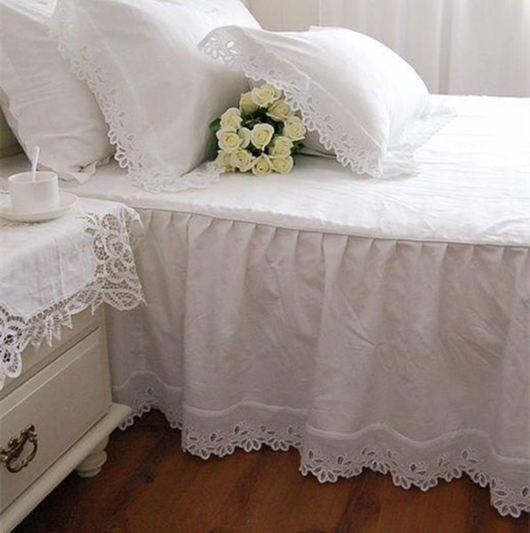Super Soft Bed Skirt European Flower Embroidery 100% Satin Cotton Bedspread Bed Sheet For Wedding Decoration Elegant Cover