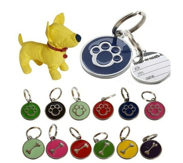 Cute Stainless Steel Metal Paw/Bone Shaped Dog Cat ID Name Tags Pet Jewelry Necklace Mixed Colour