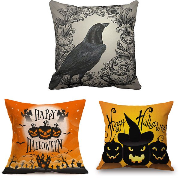 Happy Halloween Pillowcases Linen Bed Pillow Cover Home Bedroom Brand New Comfortable High Quality Droship 45cm*45cm 10AUG 1 Pillow Case