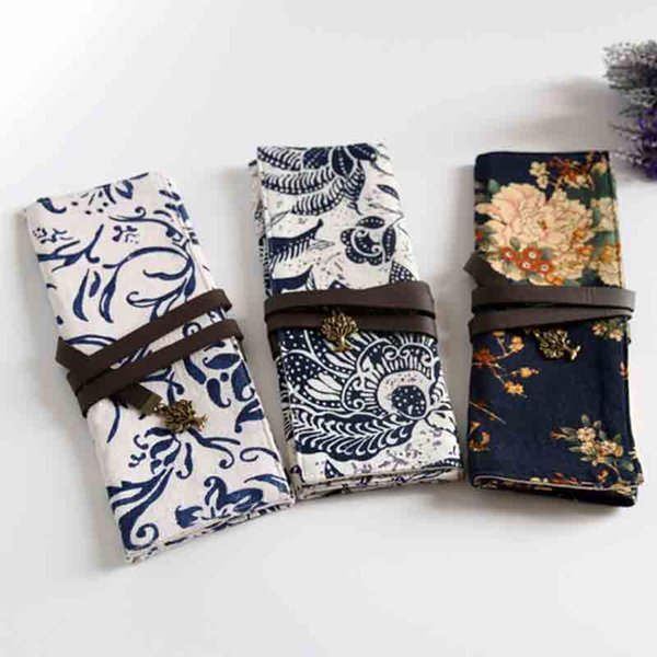 Chinese style original hand-wrapped cotton and linen cloth art stationery bag pen bag pocket change wrapping rope