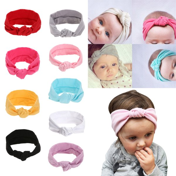 Baby girls Tie Knot Headband Knitted Cotton Children Girls elastic hair bands Turban bows for girl Headbands Hair Accessories free shipping