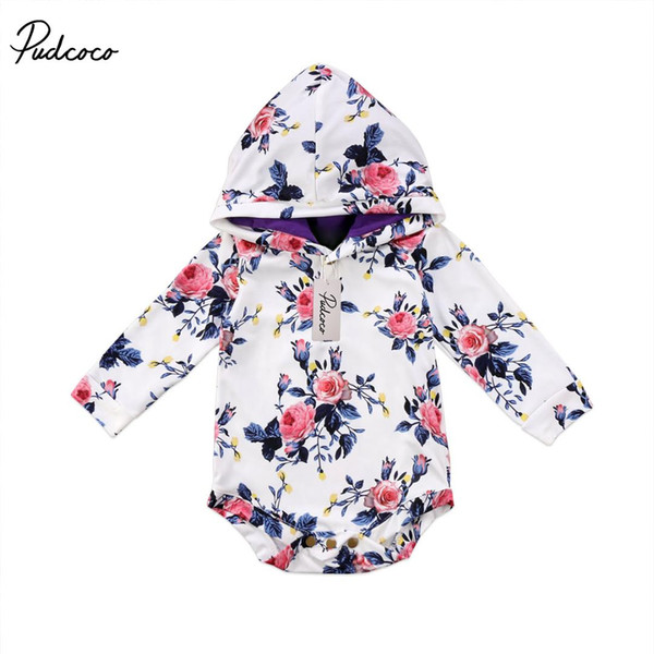 2017 Brand New Infant Toddler Newborn Baby Girls Hooded Hoodie Floral Jumpsuit Bodysuit Playsuit Outfits Spring Fall Clothes