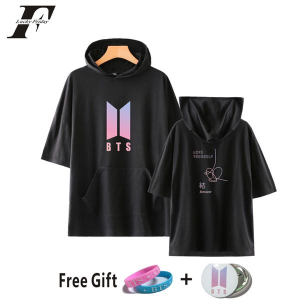 2018 BTS Love Yourself 8 Answer harajuku hoodies sweatshirts Women men Hooded Color Summer Hip Hop Hooded Tops