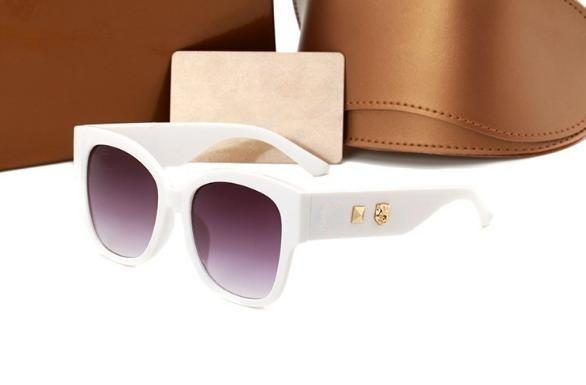 Top quality New 0059 Leopard Head Rivets Tri-Color Stripe Fashion Sunglasses Contrast Square Sunglasses