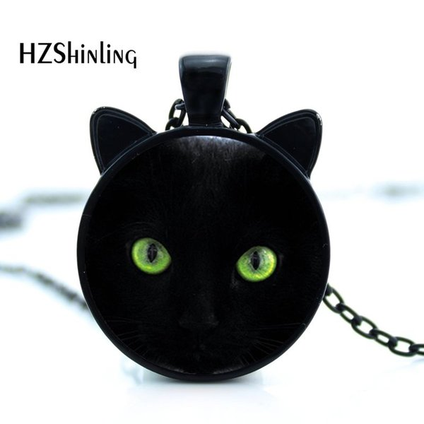 CN-00228 Green eyes Black Cat Necklace With Ears Real Cat Art Photo Pendant Jewelry with silver chain for Girls Gifts