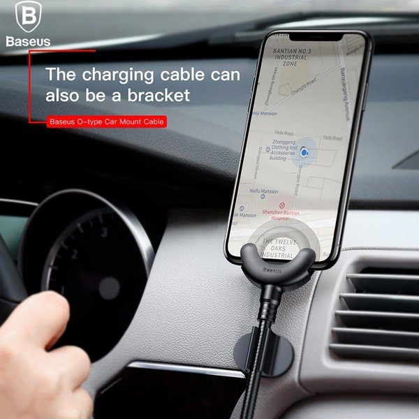 Baseus Car Phone Holder for iPhone X 8 7 6 5S 360 Degree GPS Mobile Phone Stand Car Mount USB Cable For iPhone Charging Bracket