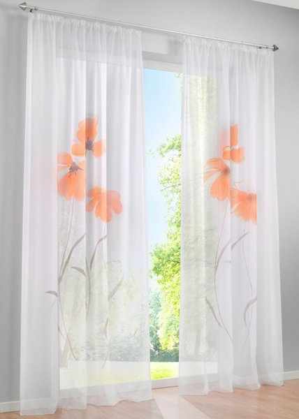 Price for one piece Hot Sale Manual Spray Painted Flower Tulle Window Curtains for Living Room Bedroom Window Sheer Blinds