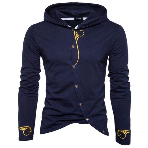 Men Hoodies 2018 Sudaderas Hombre Hip Hop Mens Brand Stitching Embroidery Cardigan Hoodie Sweatshirt Slim Fit Men Hoody XXLY1882203