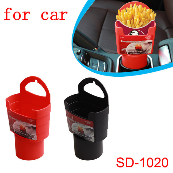 top popular 1pc Car French Fries Holder Food Drink Cup Holder Food Grade PP Storage Box Bucket Travel Eat in the car Red   Black 2019