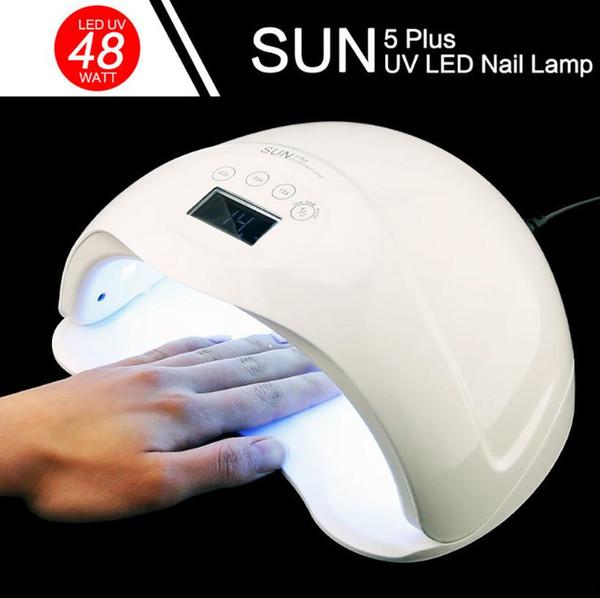 SUN5 Artı 48 W UV LED Lamba Tırnak Kurutucu Çift Eller Için Tırnak Lamba Kür UV Jel Oje Ile LCD Zamanlayıcı Ekran Sensörü