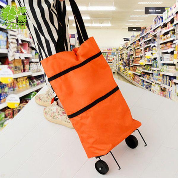 top popular Best-selling household portable folding back shopping cart portable tug hanging bag Oxford cloth pushing shopping cart 2021