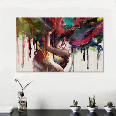 Dipinto a mano HD stampa moderna astratta ritratto arte pittura a olio Gli amanti, su tela di alta qualità Bedroom Decor Multi Size p10
