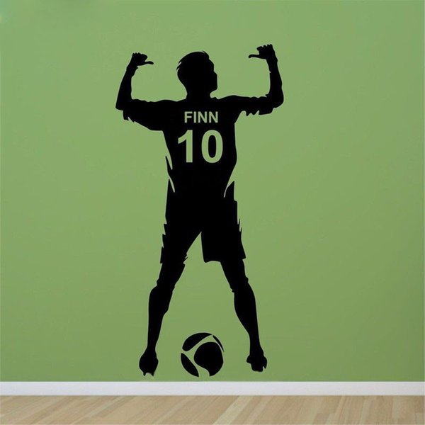 New Football Personalized Name & Number Vinyl Wall Decal Poster Wall Art Decor-Kids & Boy Bedroom Soccer Sticker decoration