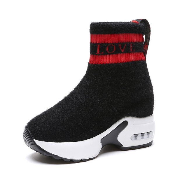 European American style simple fashion socks boots 2018 autumn winter new high-heeled short boots within Increase Martin
