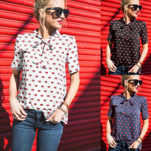 Kadın Şifon Bluz Gömlek Casual Kırmızı Dudak Baskı Kravat Yay Yaz Standı Yaka Avrupa Kısa Kollu Artı Boyutu S-3XL Moda Tops