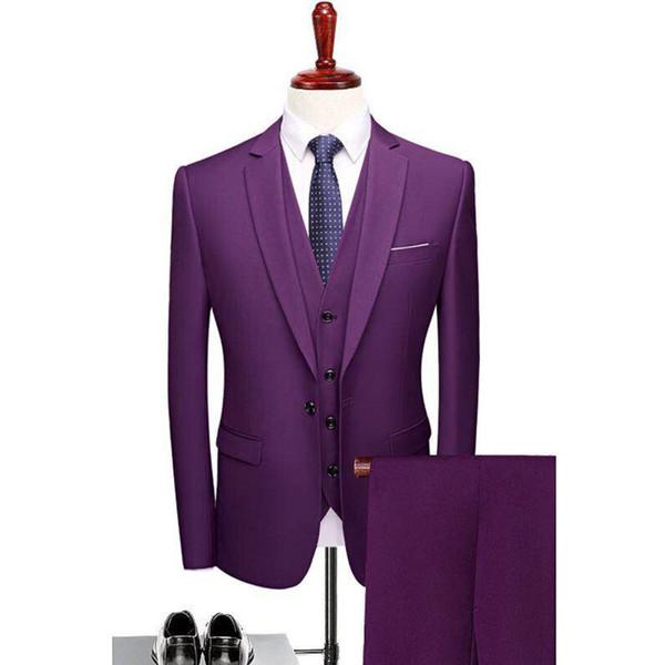 Slim Male Suit Fashion Men Formal Suit Pantalon Costume Homme Groom Man Party Purple For Wedding Dress Tuxedo