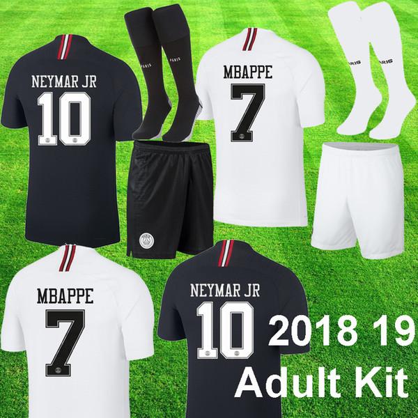 2018 19 PSG Jordan NEYMAR JR MBAPPE Kit de fútbol de la Liga de campeones VERRATTI CAVANI KIMPEMBE psg Uniforme de fútbol adulto Conjunto de blanco y negro Short adulto