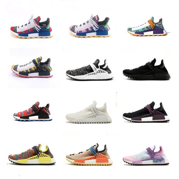 BBC x NERD Human Race Pharrell Williams Trail Solar Pack Running Shoes Designer Chaussures Mens Women Trainers PW HU Sneakers Size 36-45