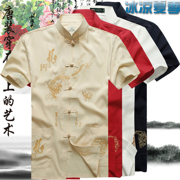 Tang Suit Traditional Chinese Clothing For Men Fluid Tops Garment Kung Fu Suits Man Blouse Shirt Hanfu Uniform Summer Top